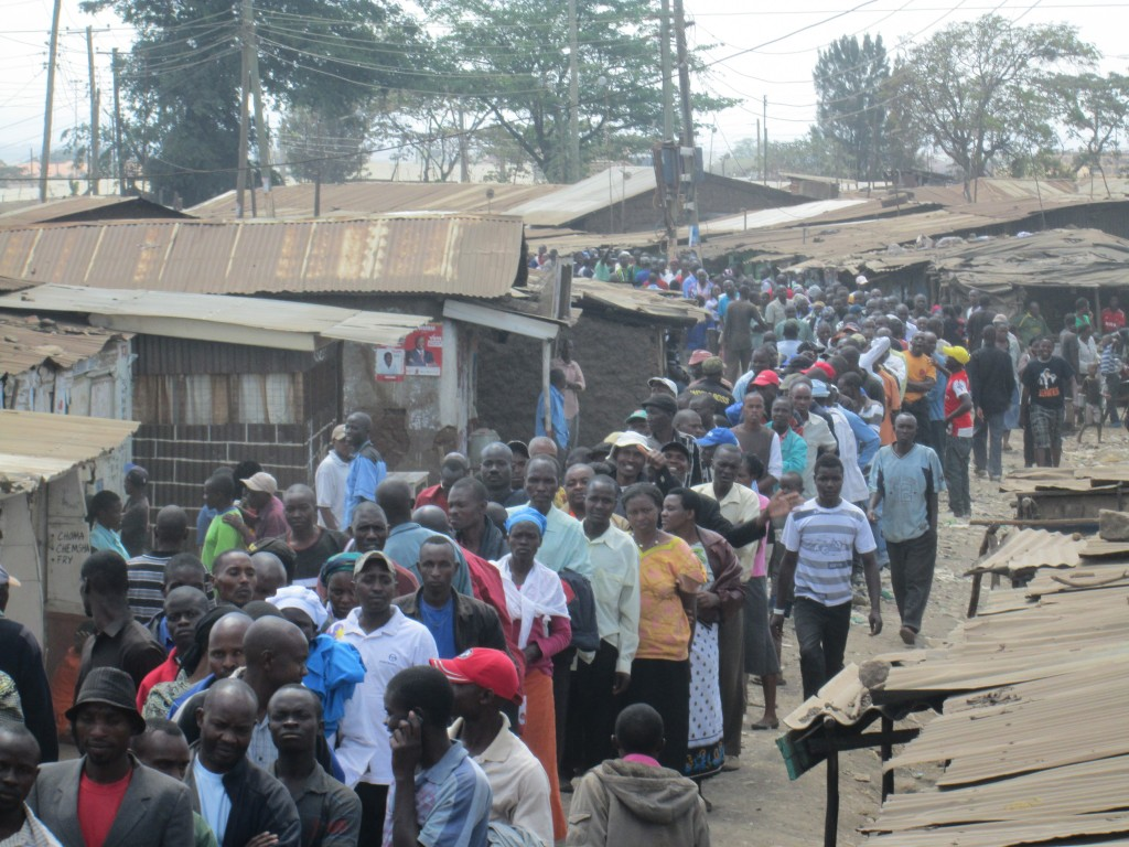 Long queues in Kibera